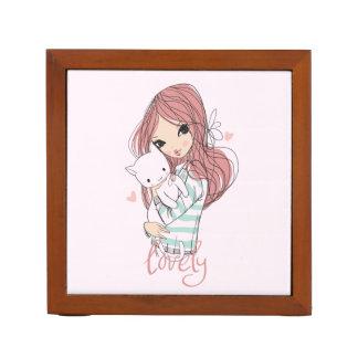 Rode Haired Meisje en haar Weinig Kat Pennenhouder