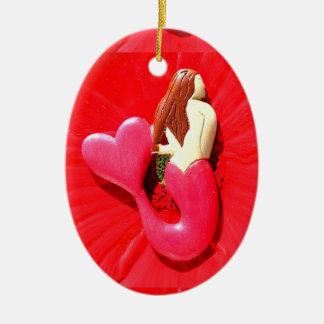 rode hart-de steel verwijderde van keramisch ovaal ornament