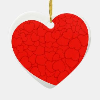 Rode harten keramisch hart ornament