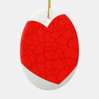 Rode harten keramisch ovaal ornament