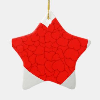 Rode harten keramisch ster ornament