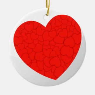 Rode harten rond keramisch ornament