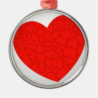Rode harten zilverkleurig rond ornament