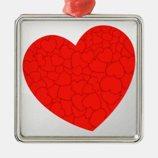 Rode harten zilverkleurig vierkant ornament