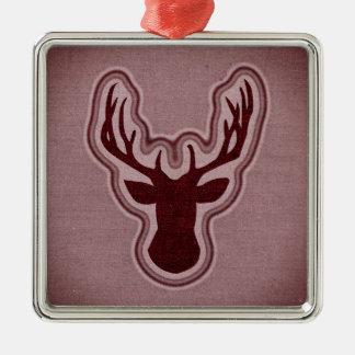 Rode het Gloeien van het Canvas Herten Zilverkleurig Vierkant Ornament