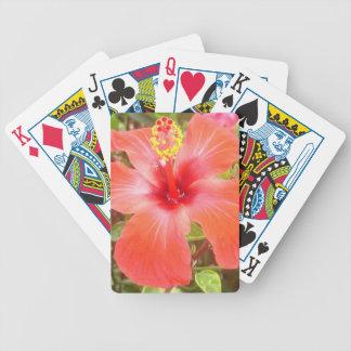 Rode Hibiscus Bicycle Speelkaarten