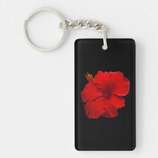 Rode Hibiscus op Zwarte - Aangepaste Sjabloon Sleutelhanger