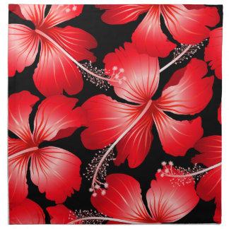 Rode hibiscusbloemen katoenen servet