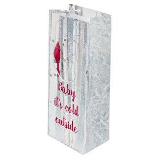 Rode HoofdVogel in het sneeuwCitaat van de Boom Wijn Cadeautas