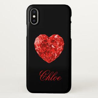 Rode iPhone X van de Naam van het Hart van de