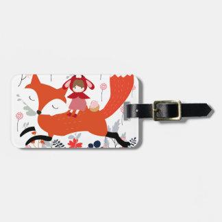 Rode kap berijdende meisje en vos in bloemtuin kofferlabel