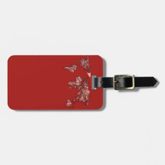 Rode kastanjebruine atlas kofferlabels
