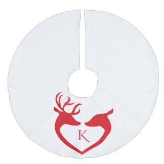 Rode Kerstmis Met monogram van het Silhouet van Imitatie Linnen Kerstboom Kleed