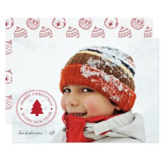 Rode Kerstmis siert de Kaart van de Foto van de