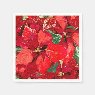 Rode Kerstmis van Poinsettia Wegwerp Servet