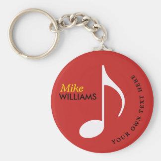 rode keychain van het muzieksymbool met naam sleutelhanger