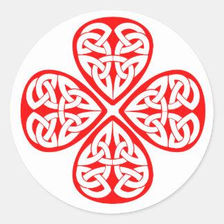 rode klaver Keltische knoop Ronde Sticker
