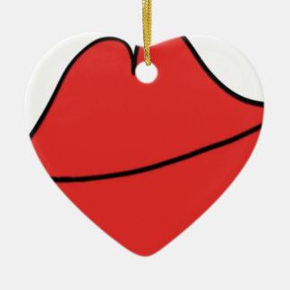 Rode Lippen Keramisch Hart Ornament