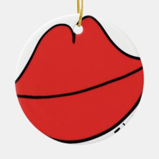 Rode Lippen Rond Keramisch Ornament