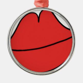 Rode Lippen Zilverkleurig Rond Ornament