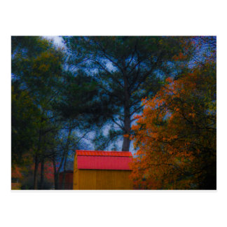 Rode Loods Roofed in Herfst Briefkaart
