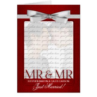 Rode M. & M. Gay Wedding Reception Invitation Wenskaart