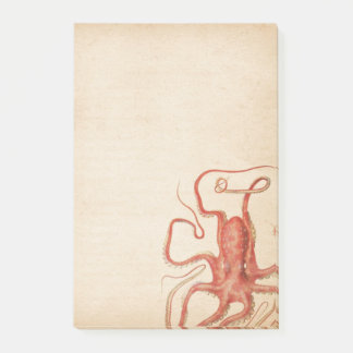 Rode Octopus Verouderde Sepia Steampunk Post-it® Notes