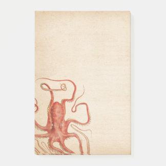 Rode Octopus Verouderde Sepia Steampunk van het Post-it® Notes