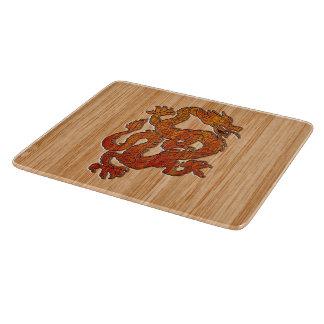 Rode Oosterse Draak op de stijl van het Bamboe Snijplank
