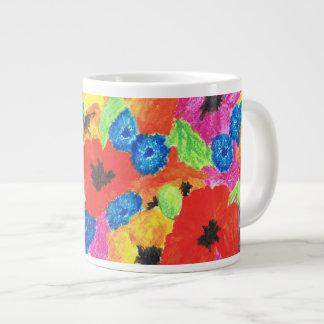 Rode Papavers en het Blauwe BloemenPatroon van Extra Grote Beker