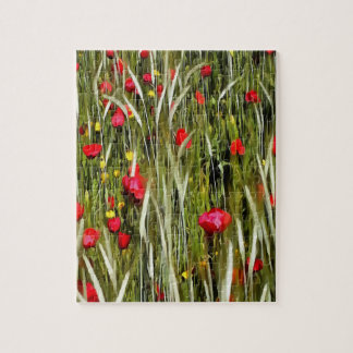 Rode Papavers in Cornfield Foto Puzzels