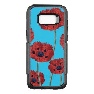 Rode Papavers op Blauw OtterBox Commuter Samsung Galaxy S8+ Hoesje