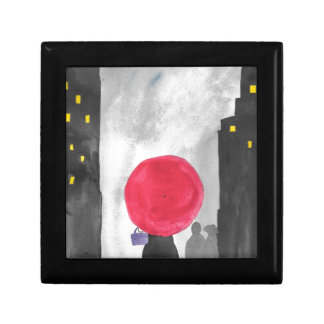 Rode Paraplu Vierkant Opbergdoosje Small