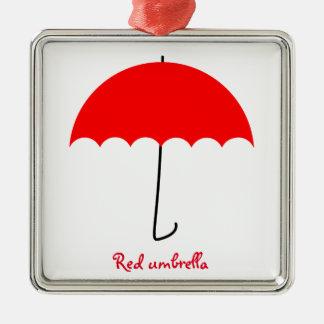 Rode paraplu zilverkleurig vierkant ornament