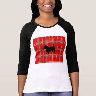 Rode Plaid en Schotse de hondt-shirt van Terrier T Shirt