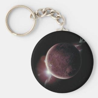 rode planeet in het heelal met aura en sterren sleutelhanger