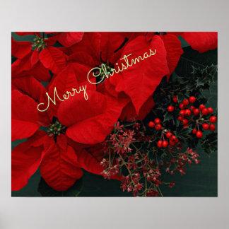 Rode Poinsettia, Vrolijke Kerstmis Poster