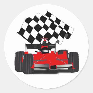 Rode Raceauto met Geruite Vlag Ronde Sticker