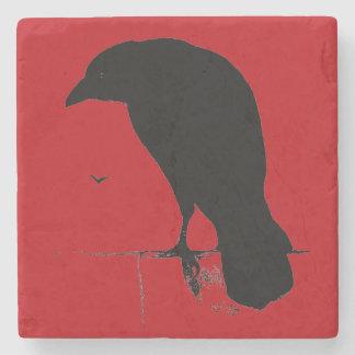 Rode Raven van de Gothic van het vintage Silhouet Stenen Onderzetter