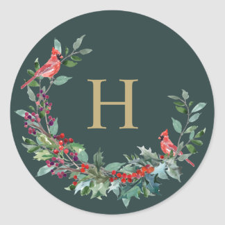 Rode Robin Holiday Wreath Monogram Stickers