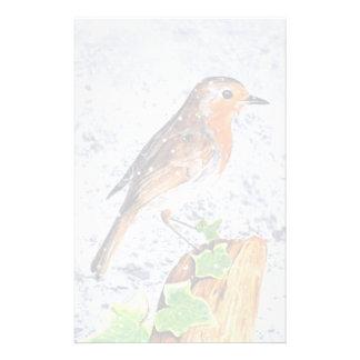Rode Robin in het sneeuwart. Briefpapier