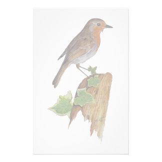 Rode Robin op houten post Briefpapier