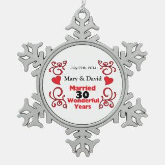 Rode Rol & de Namen & de Datum van Harten het Tin Sneeuwvlok Ornament
