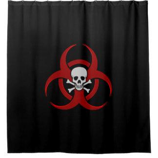Rode Schedel Biohazard en Gekruiste knekels Gordijn 0