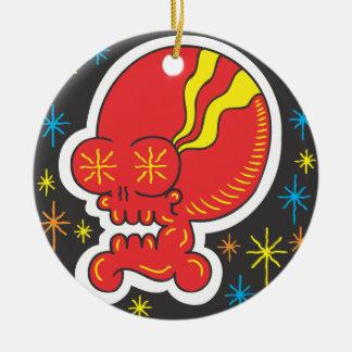 Rode Schedel Rond Keramisch Ornament