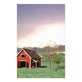 Rode Schuur bij Zonsondergang Briefpapier