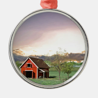 Rode Schuur bij Zonsondergang Zilverkleurig Rond Ornament