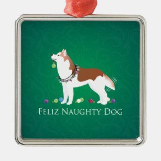 Rode Siberische Ongehoorzame Kerstmis van de Hond Zilverkleurig Vierkant Ornament