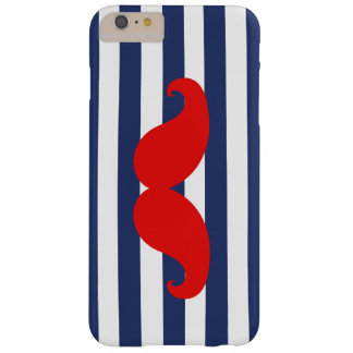 Rode Snor en Marineblauwe Strepen Barely There iPhone 6 Plus Hoesje