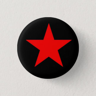 Rode Ster Ronde Button 3,2 Cm